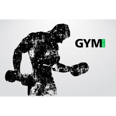 Dambıl Kaldıran Adam Gym Gri Zeminli Spor Salonu Duvar Kağıdı